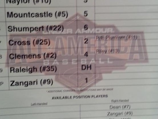 Cal Raleigh was a starter in Saturday night's Under Armour All-America baseball game in Chicago.