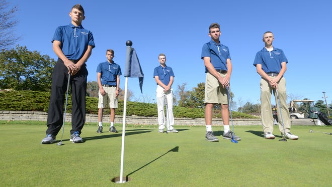Zanesville High School's golf team is heading to the state tournament starting on Friday. J.J. Burns, left, Tyson Dickinson, Jace Ruggerio, Jared Ball and Nolan Kimberly are on of a dozen teams competing for the title at Ohio State's Scarlett Course in Columbus.