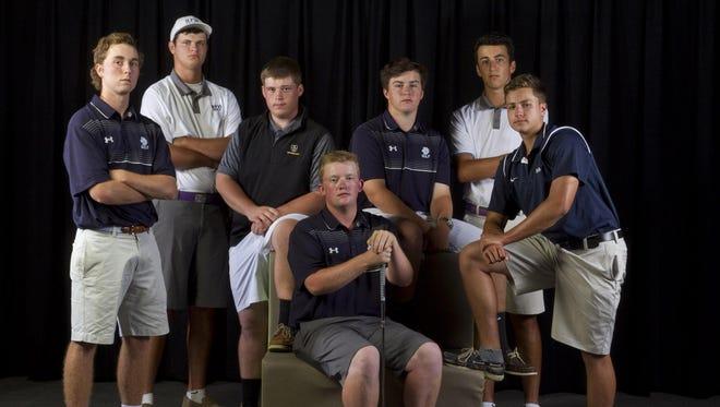 The All-Shore Boys Golf Team of Sean Farren, Reid Bedell, Jackson Fiel, Jack Doherty, Chris Gotterup, Perry Litwin and Dawson Jones.