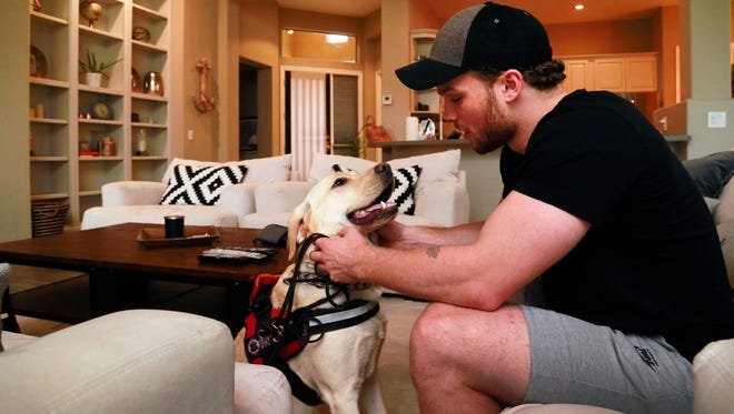 Arizona Coyotes Max Domi plays with his diabetic-alert dog Orion at his home on Sunday, Oct. 18, 2015,  in Scottsdale.  Domi is a type 1 diabetic. Orion is trained  to sniff out low blood sugar .