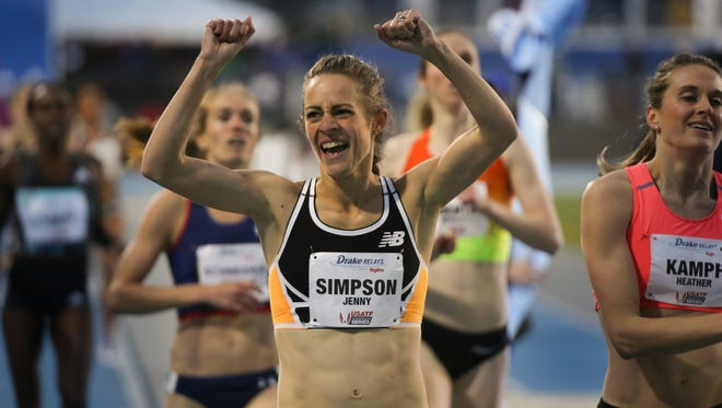 Jenny Simpson wins the women's 1,500 at the Drake Relays Friday.