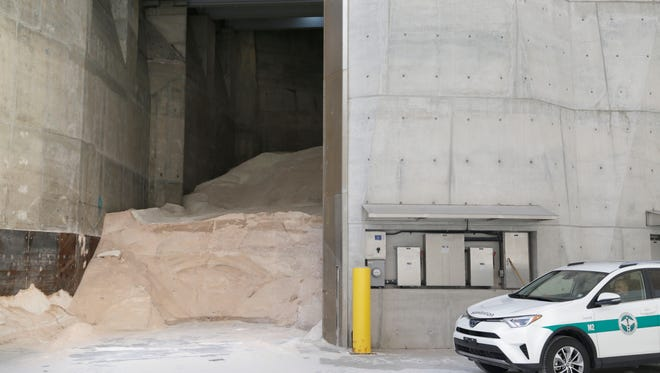 Department of Sanitation salt sits in a shed, ready for use, in New York on March 12, 2017.