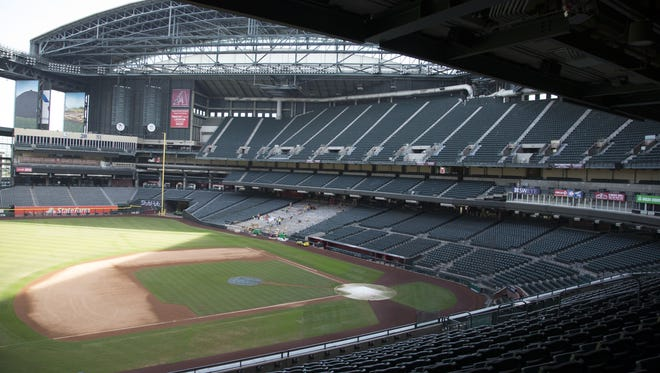 Chase Field in downtown Phoenix is undergoing construction to replace concrete and steel beams that have corroded from power washing.