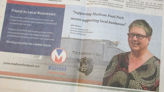 Great Falls business owner Julie Meyers is featured in this advertisement from April 12. Meyers said she has received threats due to her support of the Madison Food Park