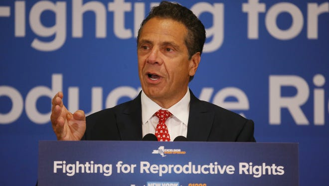 Governor Andrew Cuomo speaks during Wednesday's press event for reproductive rights at the Poughkeepsie Tennis Club on July 11, 2018.