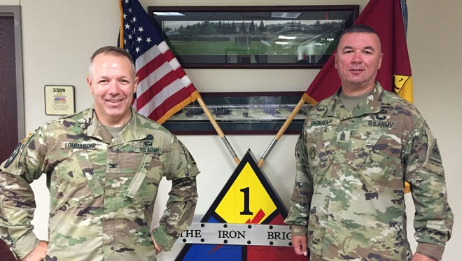 Col. Chuck Lombardo, left, and Command Sgt. Maj. Kevin V. DaGraca will lead the 2nd Brigade on a new mission.