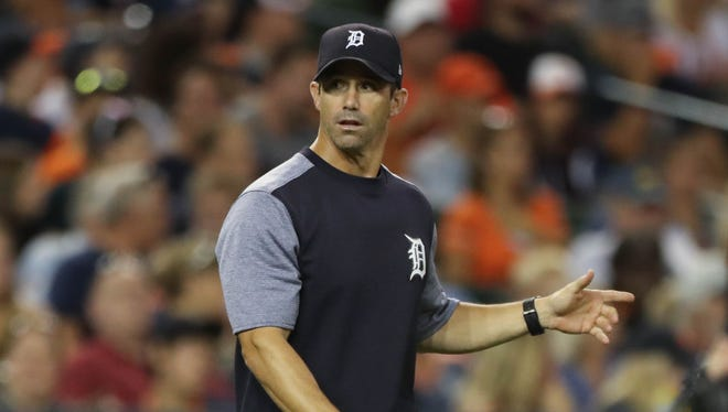 Tigers manager Brad Ausmus goes to the mound to take out starter Jordan Zimmermann in the sixth inning against the Dodgers, Friday, Aug. 18, 2017 at Comerica Park.
