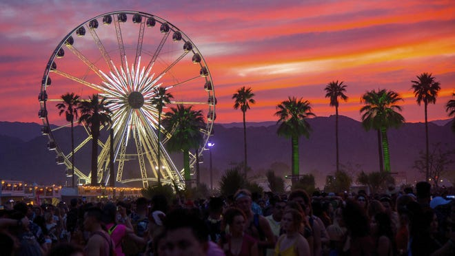 The sun sets over the Coachella Music & Arts Festival in Indio in 2018. The 2020 festival and its country music counterpart Stagecoach are canceled, officials announced.