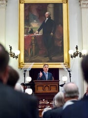 Gov. Peter Shumlin delivers his budget address at the Statehouse on Thursday.