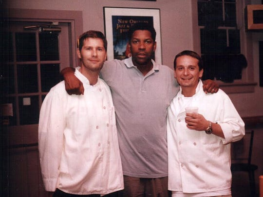 Wilmington's Jamie Campbell (left) with actor Denzel Washington at the former Sydney's Blues & Jazz Restaurant in Rehoboth Beach.