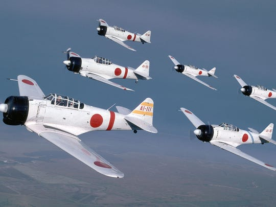 """American planes made to replicate a Japanese Zero will be part of the """"Tora! Tora! Tora!"""" show Saturday and Sunday at Dyess AFB."""