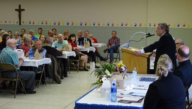 A crowd of more than 135 people listened to Mike DeWine speak Wednesday in Bucyrus.