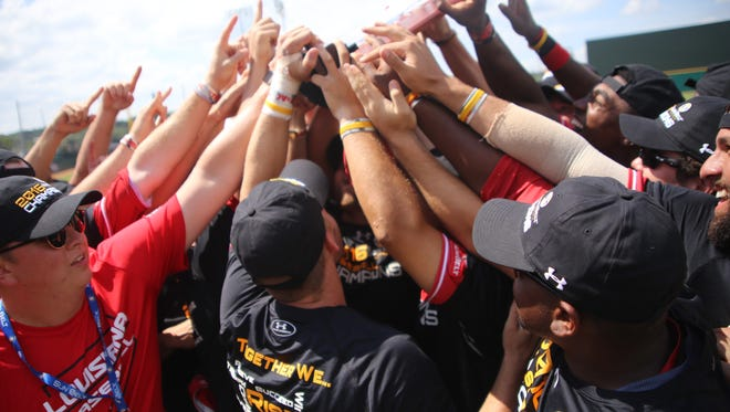 The UL Cajuns celebrate their win over Georgia Southern Sunday and becoming the Sun Belt Conference Tourney champions. UL was lso chosen to host one of 16 NCAA Regional tourneys Sunday night.