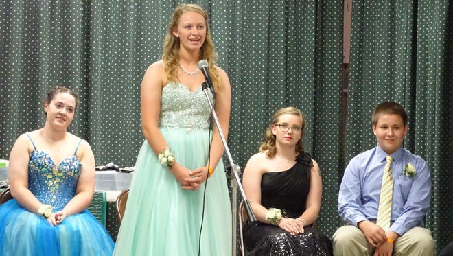 Taylor Lutz, 18, answered questions during the 2016 Crawford County Junior Fair Queen contest. Lutz was named queen at the end of the competition.