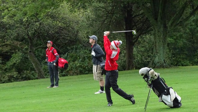 Buckeye Central's Dalton Sheaffer in the fairway of the 16th hole at Valley View last Thursday during the Division III sectional.