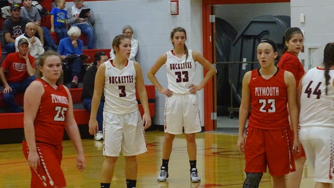 Jenna Karl and Isabelle Biglin wait for the ball to be inbounded.
