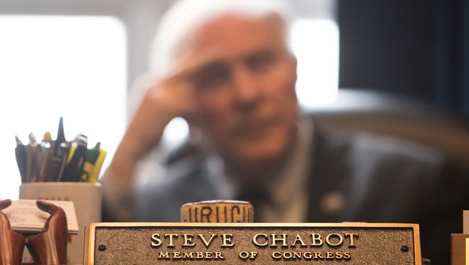 Rep. Steve Chabot, R-OH, at his desk in the U.S. Capitol, April 2017.