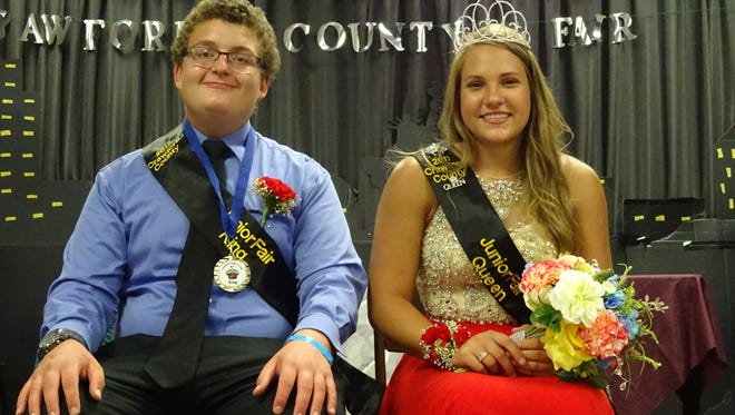 Zachary Hiler and Desiree Sharp were all smiles Sunday night after being named King and Queen of the 2017 Crawford County Fair.
