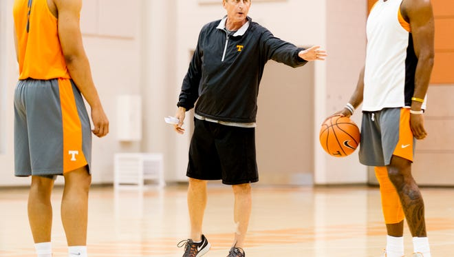 Head Coach Rick Barnes calls to players during a drill during team practice at Pratt Pavilion in Knoxvile, Tennessee on Thursday, October 5, 2017.