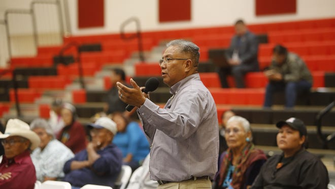Nenahnezad Chapter president Norman C. Begaye comments about the tribe's rural addressing initiative during a town hall meeting about Real ID driver's licenses and identification cards on Friday at Navajo Technical University in Crownpoint.
