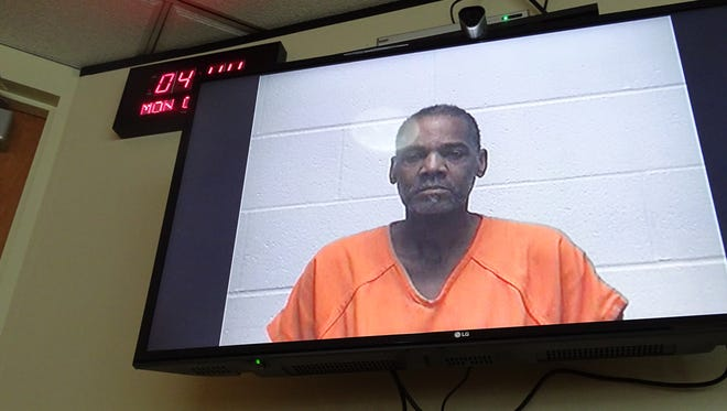 Defendant James C. Brown appears in court for an arraignment via video conference Monday.