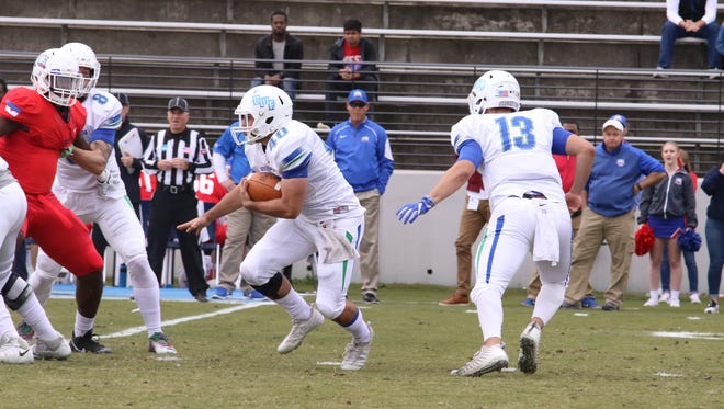 University of West Florida running back Chris Schwarz looks for an opening against West Georgia on Saturday in Carrollton, Georgia.