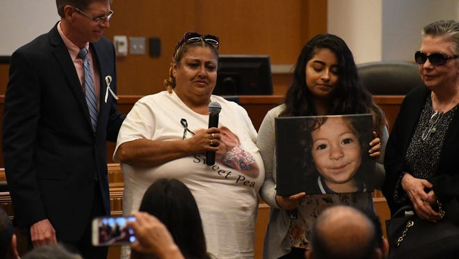 A mother speaks out about the loss of her murdered daughter (pictured) at the Monterey County Board of Supervisors' Chambers Friday. Her daughter would have turned nine years old this week.