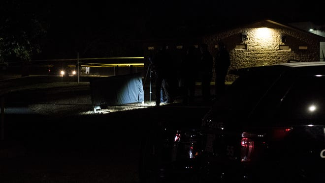 Salinas police investigate a homicide at El Dorado Park on Tuesday evening.