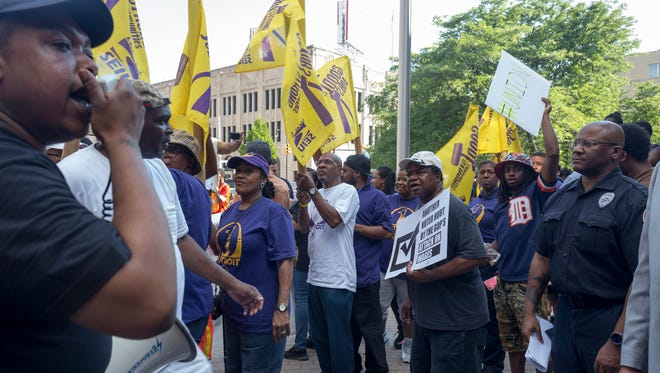 Residents from across Michigan gather outside the studios of WDIV-TV (Channel 4) to protest before the Republican Gubernatorial debate on Thursday, June 28, 2018 in Detroit.