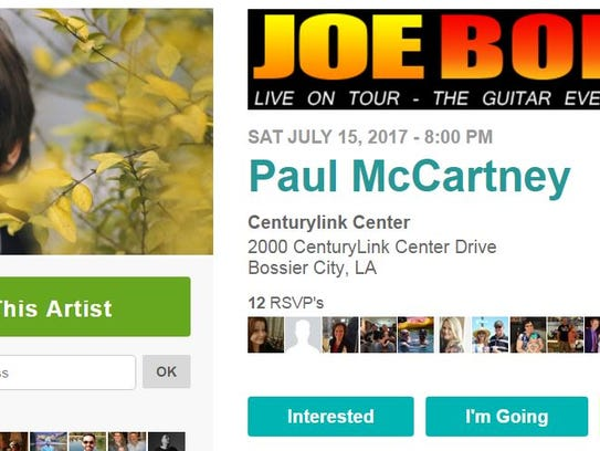 The popular website Bandsintown shows a CenturyLink