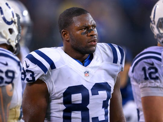 Indianapolis Colts tight end Dwayne Allen (83) on the sidelines during the second half of an NFL football game Monday, Nov. 2, 2015, at Bank of America Stadium in Charlotte, North Carolina.