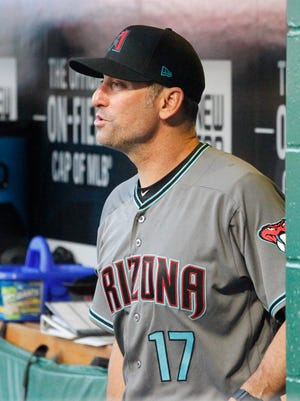 May 30, 2017: Arizona Diamondbacks manager Torey Lovullo (17) reacts in the dugout against the Pittsburgh Pirates during the fourth inning at PNC Park.