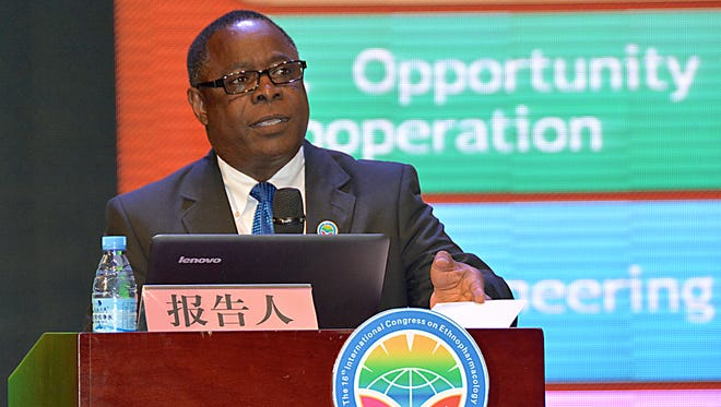 MTSU President Sidney McPhee makes a point during his address at the opening session of the three-day 16th International Congress on Ethnopharmacology in Yulin, China.