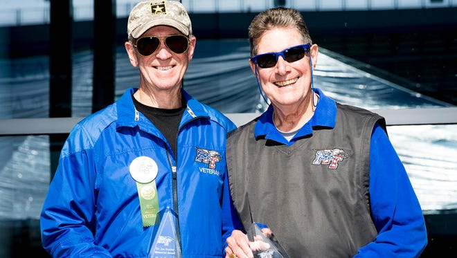Longtime friends and MTSU alumni Bob Lamb, left, and Bud Morris share the limelight as 2016 Joe Nunley Sr. Award winners. They were recognized Saturday (Nov. 5) after the Salute to Veterans and Armed Services picnic as part of game-related activities to honor veterans. (MTSU photo by Eric Sutton)