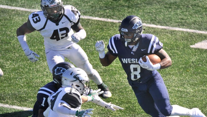 Wesley's Jamar Baynard had a career day rushing for 265 yards and three touchdowns in the Wolverines' 38-17 victory over No. 20 Stevenson in the first round of the NCAA Tournament on Saturday afternoon.