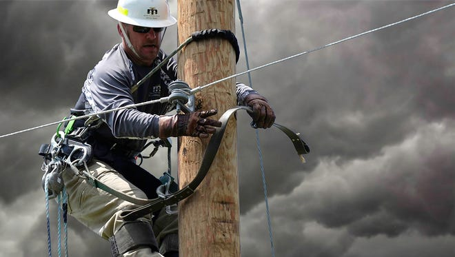 Every year electrical workers stay busy repairing power lines caused by storm damage.