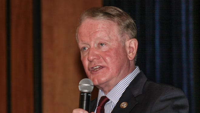 Congressman Leonard Lance outlined his position on school safety and gun rights for a few hundred Delaware Valley High School students in a Q&A session in the auditorium on Monday, April 19.