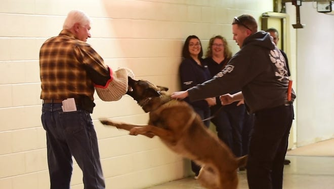 K-9 Officer Pete Bush, right, demonstrates K-9 Woody's training by having the dog attack volunteer Bruce Chambers, a member of the Citizens Police Academy class, at the Fremont Police Department on Thursday night.