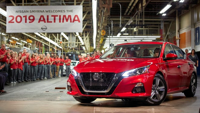 The first all-new Nissan Altima rolled off the assembly line at Nissan's manufacturing facility on Aug. 23, 2018 in Smyrna. Beginning with the 2019 model, the Altima is in its sixth generation and goes on sale this fall.