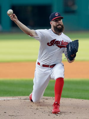Cleveland Indians starting pitcher Corey Kluber delivers in the first inning of a baseball game against the Los Angeles Angels, Saturday, Aug. 4, 2018, in Cleveland. (AP Photo/Tony Dejak)