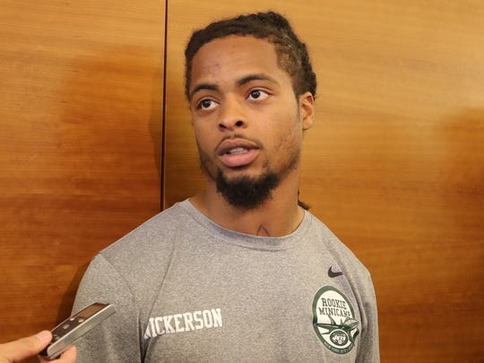 The 6th round pick for the Jets cornerback Parry Nickerson addresses the media in the locker room before practice.