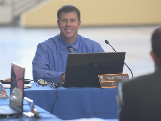 WCSD trustee Scott Kelley during a meeting of the board of trustees.