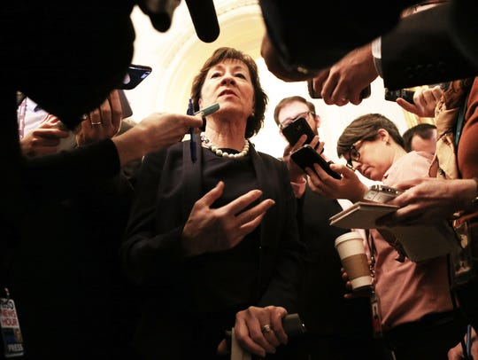 Sen. Susan Collins, R-Maine, speaks to the media in