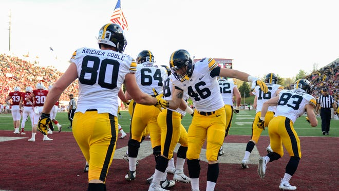 Henry Krieger Coble (80) and George Kittle (46) have made tight end a position of strength for Iowa.