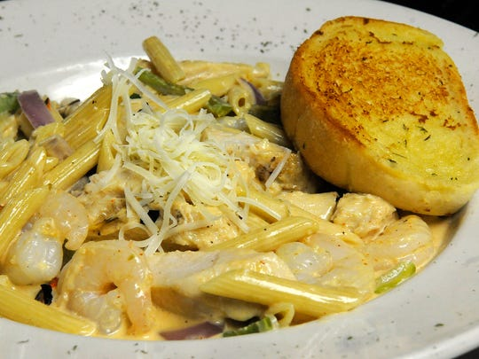 A pasta dish is ready to serve at Bello Cucina in St.