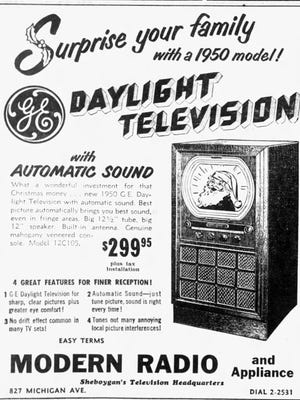Sheboygan Press advertisement for Modern Radio and Appliance, 820 Michigan Avenue in Sheboygan. The store billed itself as Sheboygan's Television Headquarters. The 1950 model advertised Daylight Television with Automatic Sound.