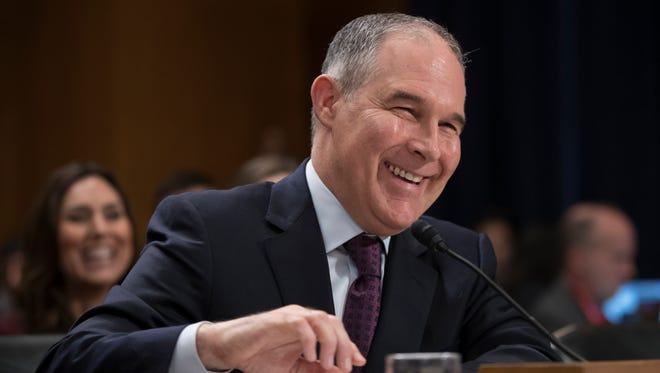Oklahoma Attorney General Scott Pruitt, President Trump's choice to lead the Environmental Protection Agency, testifies before the Senate Environment, and Public Works Committee Jan. 18 on Capitol Hill.