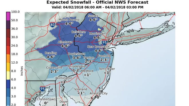 South Jersey snowfall predictions for Monday, April 2, 2018