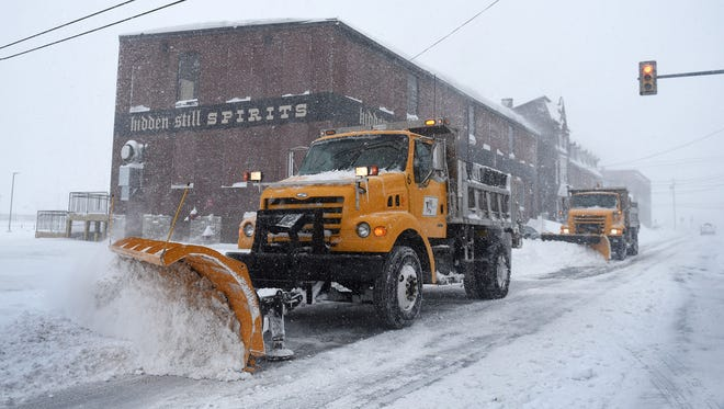 Crews clear snow from Willow Street in Lebanon in January. The storm of Jan. 22-23 dumped about 30 inches of snow on the Lebanon Valley.