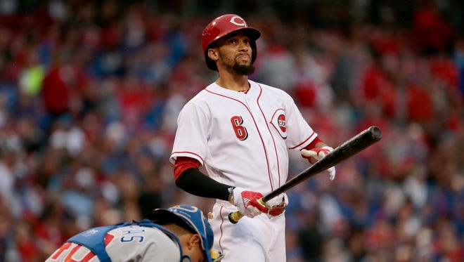 Cincinnati Reds center fielder Billy Hamilton (6) takes the plate in the first inning of the MLB National League game between the Cincinnati Reds and the Chicago Cubs at Great American Ball Park in downtown Cincinnati, on Friday, April 21, 2017. After three innings the game was scoreless.